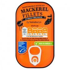 Sainsburys Mackerel Fillets in Smoky BBQ Sauce 125g