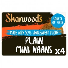 Sharwoods 50% Wholewheat Flour Naan Mini Plain 4 Pack