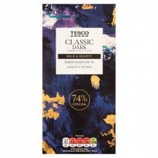 Tesco 74% Plain Chocolate Bar 100G