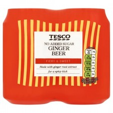 Tesco Diet Ginger Beer 4 x 330ml Cans