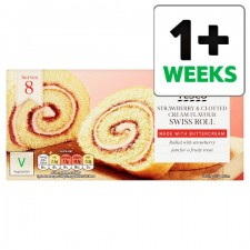 Tesco Strawberry and Clotted Cream Swiss Roll 8 Servings