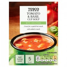 Tesco Tomato And Basil With Croutons Soup In A Mug 5 Pack 120g