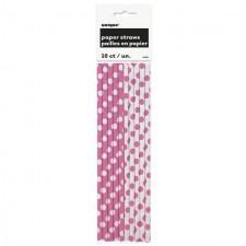 Unique Party Pink Dots Paper Straws 10 per pack