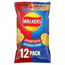 Walkers Ready Salted and Cheese and Onion Crisps 12 Pack
