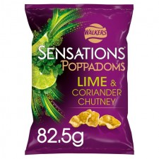Walkers Sensations Lime and Coriander Chutney Poppadoms 82.5g