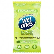 Wet Ones Cleansing Antibacterial Wipes Zingy 12 Pack