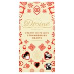 Divine White Chocolate and Strawberry Hearts 80g