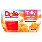 Dole Fruit Gel Bowls Mandarins In Orange Jelly 4x123g
