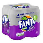 Fanta Grape Zero 4 X 330ml Cans
