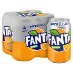 Fanta Orange Zero 4 X 330ml Cans