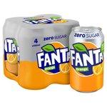 Fanta Orange Zero 4 X 330ml Cans