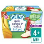 Heinz Dessert Pots 4 Month Apple Banana and Apricot Fruit Pots 4 x 100g