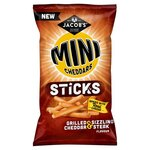 Jacobs Mini Cheddars Sticks Grilled Cheddar and Sizzling Steak 150g