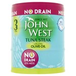 John West No Drain Tuna Steak In Olive Oil 3X110g