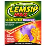 Lemsip Max Cold and Flu Blackcurrant 5 Sachets