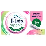 Lillets Organic Non-Applicator Tampons Super 16s