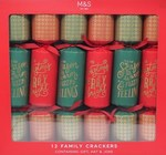Marks and Spencer 12 Red and Green Christmas Crackers