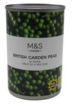 Marks and Spencer British Garden Peas in Water 300g