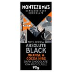 Montezumas 100% Absolute Black Chocolate with Orange and Cocoa Nibs 90g