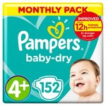 Pampers Baby Dry Nappies Size 4+ x 152