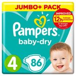 Pampers Baby Dry Nappies Size 4 x 86