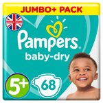 Pampers Baby Dry Nappies Size 5+ x 68