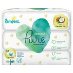 Pampers Coconut Pure Baby Wipes 3 x 62 Pack