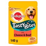 Pedigree Tasty Bites Dog Treat Cheese Beef 140g
