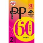 Pretty Polly 60D 3D Opaque Tights 2 Pack Black S-M