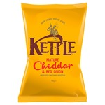 Retail Pack Kettle Chips Mature Cheddar and Red Onion 12x150g