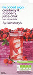 Sainsburys Cranberry and Raspberry Juice Drink No Added Sugar 1L Carton