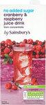 Sainsburys Cranberry and Raspberry Juice Drink No Added Sugar 1L Carton