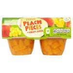 Tesco Peach Pieces in Fruit Juice 4x120g Pots
