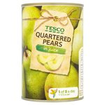 Tesco Pear Quarters In Natural Juice 410g tin