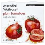 Waitrose Essential Peeled Plum Tomatoes 4 x 400g