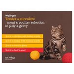 Waitrose Meat and Poultry Selection in Gravy and Jelly Cat Food 12 x 85g
