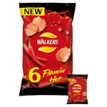 Walkers Flamin Hot Crisps 6 x 25g pack