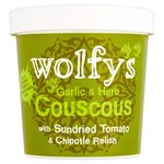 Wolfys Garlic and Herb Couscous with Sundried Tomato and Chipotle Relish 96g